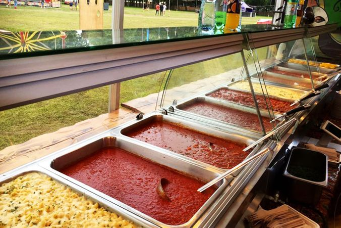pasta and pasta sauces in serving trays